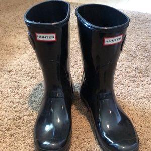 Size 10 hunter boots black short shiny classic